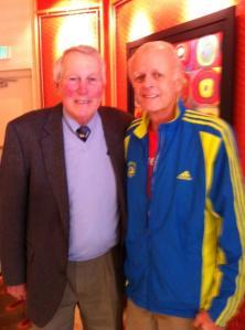 Larry Davis meets Brooks Robinson, wearing his Boston Marathon jacket.